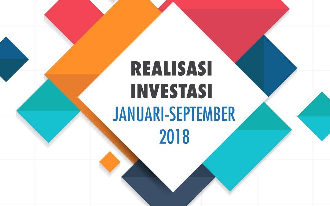 Realisasi investasi PMA dan PMDN Januari – September 2018 naik 4,3%, walaupun periode Triwulan III (Juli – September) 2018 turun 1,6%  dibanding periode yang sama tahun 2017